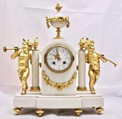 Antique Mantle Clock Beautiful French White Marble & Gilt Figural Bell Striking