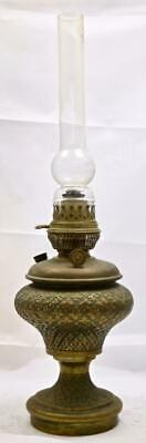 Nice Inscribed Antique Brass Oil Lamp Raised Patterning - Lovely Quality