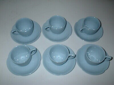 6PC Tea Cup & Saucer  Greydawn Blue Scalloped JOHNSON BROTHERS China Dinnerware