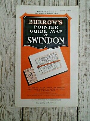 Vintage Burrow's Pointer Guide Map Of Swindon - Second Edition