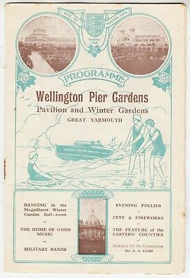 GREAT YARMOUTH - 1929 Wellington Pier Entertainbment Programme - Military Bands
