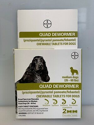 Bayer Quad Dewormer for Medium Dogs 26 - 60 lbs 2 Chewable Tablets EXP. 6/19