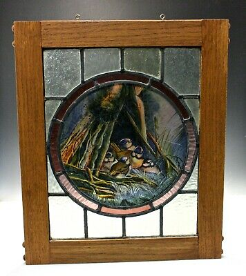 Antique Stained Glass Panel w/ Hand Painted Scene with Birds 19th C