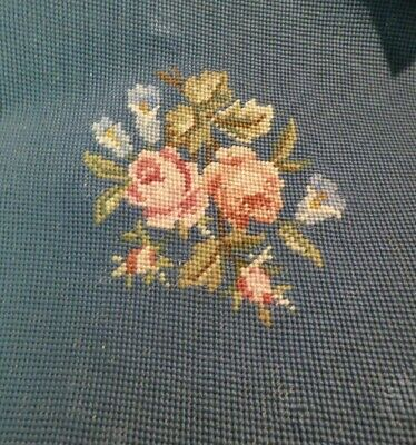 "Vtg Needlepoint Completed 12"" X 11"" Blue With Pink Peach Roses"