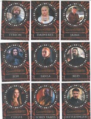 Game Of Thrones Valyrian Steel Trading Cards Laser Cut Card Set Of 18 Cards! NEW