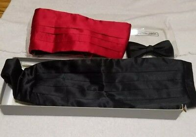 Lot Of 2 Cumberbunds And A Bow Tie, Robert Talbot  Red Black