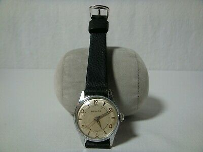 Vintage 1950s Baylor Men's AS1430 Manual Watch Silver Dial Swiss Leather Running