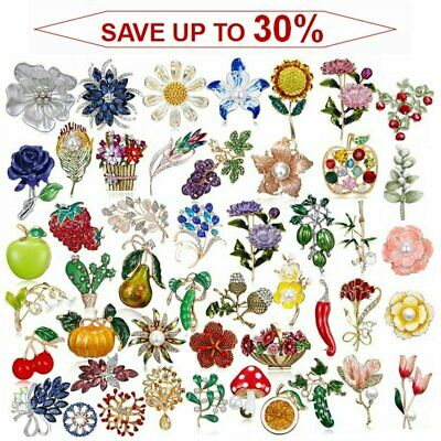 Fashion Rhinestone Crystal Flower Plant Bridal Bouquet Enamel Brooch Pin Jewelry