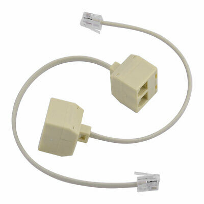 2pcs 6P4C RJ11 Dual Female to Male Telephone Cable Splitter Adapter Y7O1