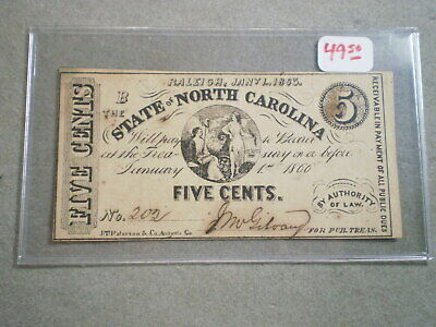 1863 Five Cent Fractional Confederate Currency Note Raleigh N. Carolina