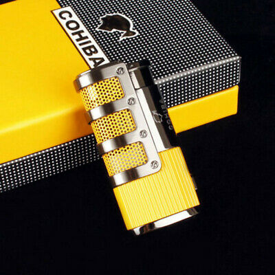 COHIBA Yellow/Black Metal 2 Jet Torch Flames Lighter With Built-in Cigars Punch
