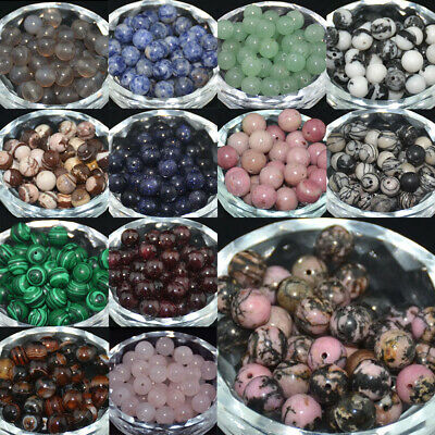 Natural Gemstones Smooth Round Spacer Loose Beads 4mm 6mm 8mm 10mm 12mm Assorted