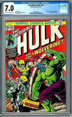 Incredible Hulk #181 CGC 7.0 (OW-W) 1st Appearance of Wolverine