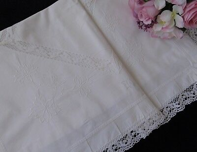 """Antique Victorian French Chateau Romantic Frilled """"ew"""" Monogrammed Pillowcase"""