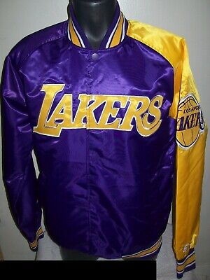 48b4ae230bc LOS ANGELES LAKERS NBA STARTER Snap Down Jacket Sping Summer PURPLE YELLOW  3X