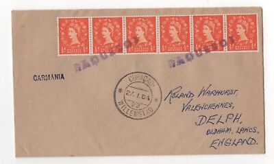 Curacao Willemstad 27 Jan 1964 Paquebot Postmark Cover Carmania 973b