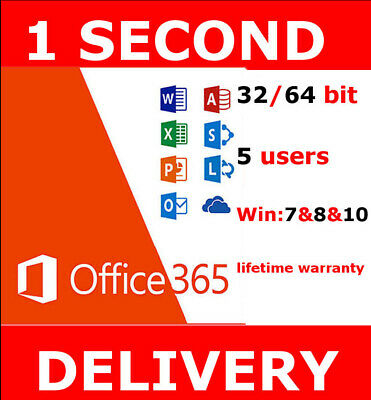 INSTANT Microsoft Office 365 2016 2019 Pro Key PC/Mac Windows 5TB 5User Lifetime