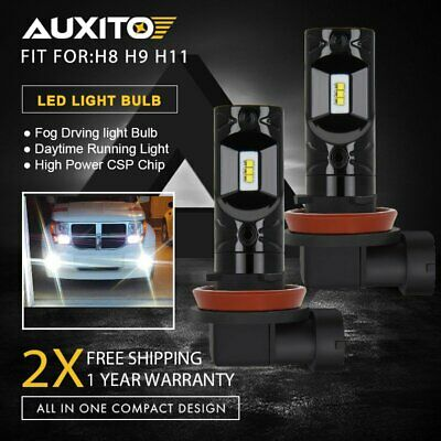 2x H11 H8 H9 2600LM LED Fog Light Bulbs Car Driving Lamp DRL 6000K White Globe