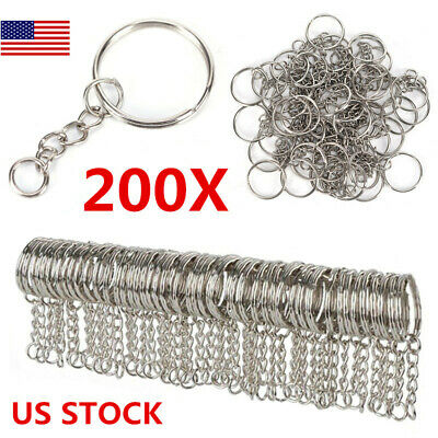 Polished Silver Color 25mm Keyring Keychain Split Ring with Short Chain Key Ring