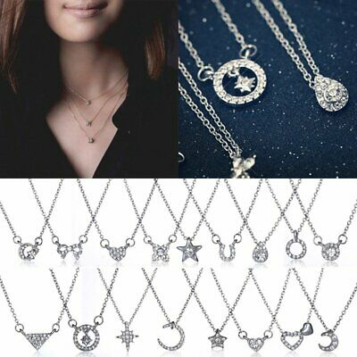Fashion Women Jewelry Heart Moon Star Silver Crystal chain Necklace Pendant Gift