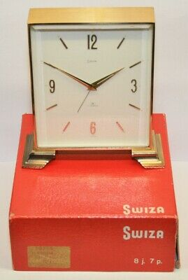 Vintage Swiss SWIZA 8 Day/7 Jewels Solid Brass Alarm Clock - Needs Attention