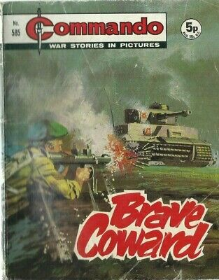 Brave Coward,commando War Stories In Pictures,no.585,war Comic,1971