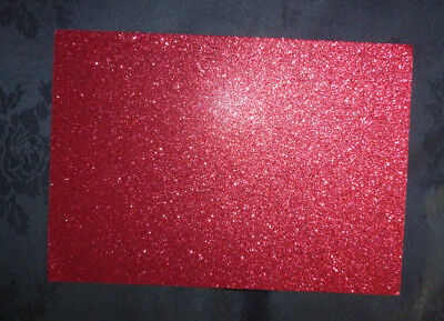 10 x Glitter Card Sheets - A6/C6 250gsm Card / Sparkling Red 14.8 x 10.5cm