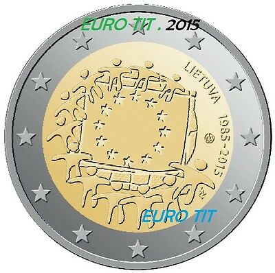 2 €     LITUANIE   COMMEMORATIVE  2015   1  X  PIECE   DRAPEAU   /    disponible