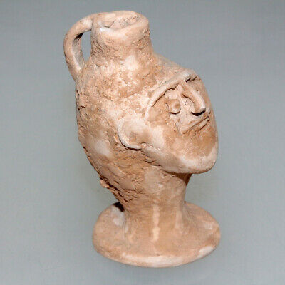 Very Rare - Intact Ancient Greek Terracotta Vase In Human Face Shaped Ca 500-300