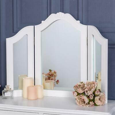 White Triple Dressing Table Mirror Vintage French Chic Freestanding Vanity Home
