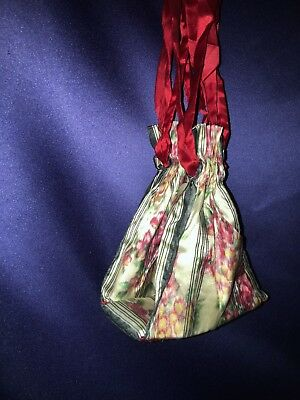 Beautiful Antique Victorian Floral Changeable Silk Handmade Sewing Bag Nice Cond