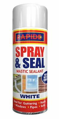 6 x 200ml Spray & Seal Mastic Leak Stop Roof Gutters Pipes Frames Sealant WHITE