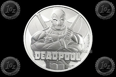 TUVALU $1 Dollar 2018 ( DEADPOOL - MARVEL) SILVER 1oz coin (Ag 999/1000) BU-UNC