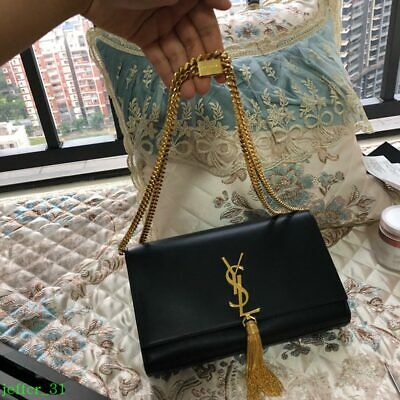 10785b1289ca SAINT LAURENT YSL Black Leather Gold Monogram Medium Crossbody Tassel Bag