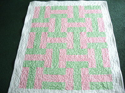 Flannel children's quilt - pink green and white with bubbles, handmade NEW