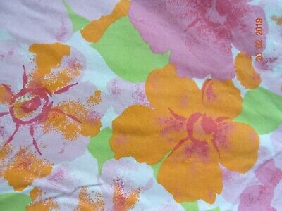 Vintage Retro 1970s  Flat Sheet Floral Flower Power Camper Van Yellow 90 x 104""
