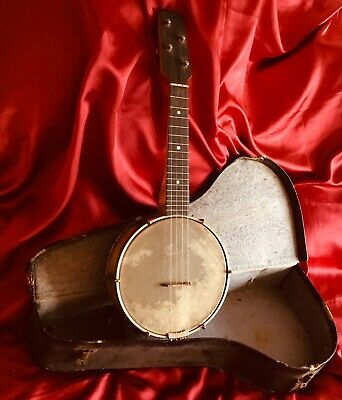 "Banjo Ukulele 22"" 4-String Wooden Vintage/Antique Instrument and Original Case"
