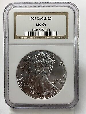 1998 Silver American Eagle MS69 NGC