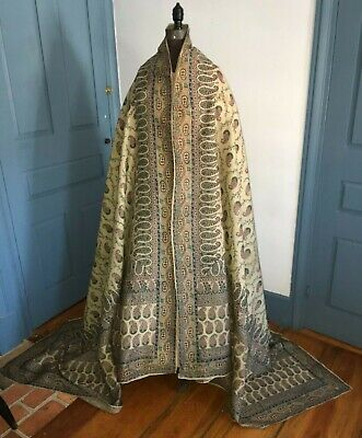 "Beautiful Large Early C1840 Antique Printed Silk Paisley Shawl 116"" by 60"""