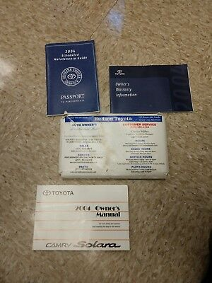 2004 Toyota Solara Camry Owners Manual and Supplements  & case