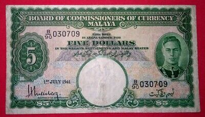 Malaya 1941 King G.VI $5 Note.