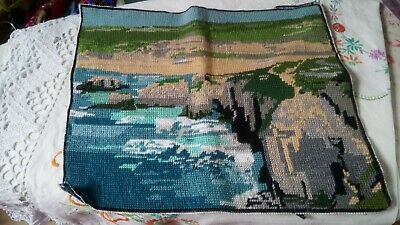 Completed Tapestry Beach Scene Hand Made needlepoint. Needs blocking