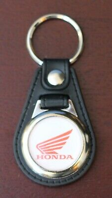 Honda Black Leather Style Keyring with Honda Wing Logo (1005)