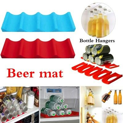 Silicon Fridge Can Beer Wine Bottle Rack Organizer Holder Mat Stacking Tidy Tool