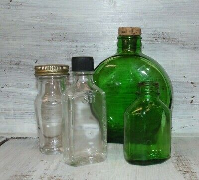 Lot of 4 Vintage Owens-Illinois Glass Bottles 2 Green, 2 Clear