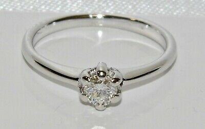 Vintage 18ct White Gold 0.33ct Diamond Solitaire Engagement Ring size N