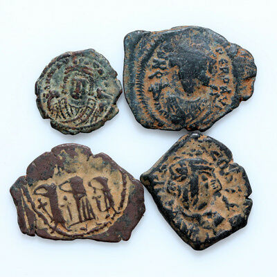 Lot Of 4 Uncertain Byzantine & Arab Byzantine Bronze Coins
