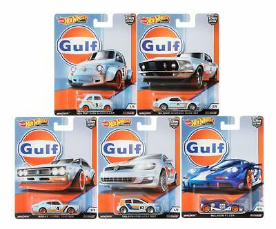 GULF 5 Car SET - Ford Mustang FIAT Nissan VW Golf McLaren *RR* Hot Wheels 1:64