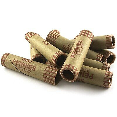 108 ROLLS PREFORMED PENNY COIN WRAPPERS TUBES 1 CENT PENNIES Shotgun Counter