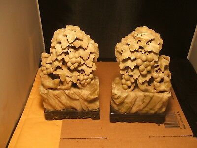 """Vintage Pair of 8"""" soapstone soap stone bookends ? Leaves grapes and squirrels"""